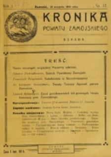 Kronika Powiatu Zamojskiego. R. 1, nr 12 (1918)