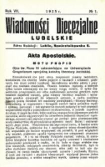 Wiadomości Diecezjalne Lubelskie. R. 7, nr 1 (1925)