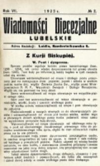 Wiadomości Diecezjalne Lubelskie. R. 7, nr 2 (1925)