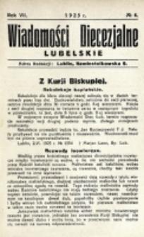 Wiadomości Diecezjalne Lubelskie. R. 7, nr 6 (1925)