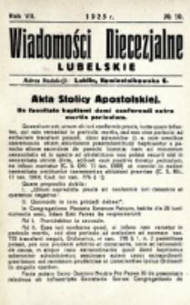 Wiadomości Diecezjalne Lubelskie. R. 7, nr 10 (1925)