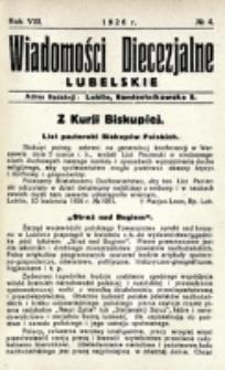 Wiadomości Diecezjalne Lubelskie. R. 8, nr 4 (1926)