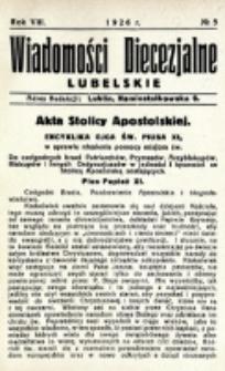 Wiadomości Diecezjalne Lubelskie. R. 8, nr 5 (1926)