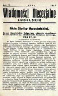 Wiadomości Diecezjalne Lubelskie. R. 9, nr 9 (1927)