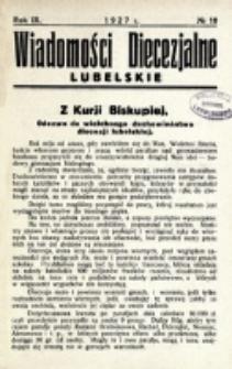 Wiadomości Diecezjalne Lubelskie. R. 9, nr 10 (1927)