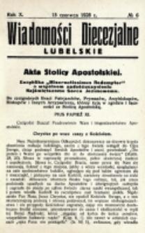 Wiadomości Diecezjalne Lubelskie. R. 10, nr 6 (1928)