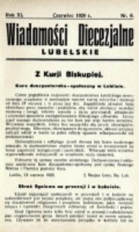 Wiadomości Diecezjalne Lubelskie. R. 11, nr 6 (1929)