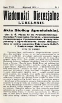 Wiadomości Diecezjalne Lubelskie. R. 13, nr 1 (1931)