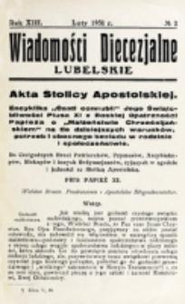 Wiadomości Diecezjalne Lubelskie. R. 13, nr 2 (1931)