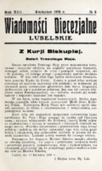 Wiadomości Diecezjalne Lubelskie. R. 13, nr 4 (1931)