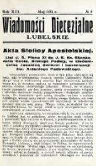 Wiadomości Diecezjalne Lubelskie. R. 13, nr 5 (1931)
