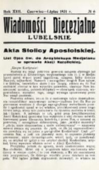 Wiadomości Diecezjalne Lubelskie. R. 13, nr 6 (1931)