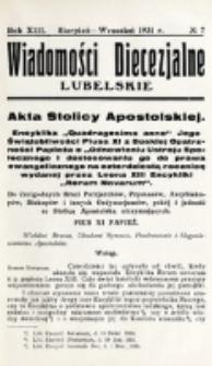 Wiadomości Diecezjalne Lubelskie. R. 13, nr 7 (1931)