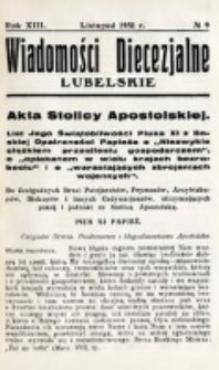 Wiadomości Diecezjalne Lubelskie. R. 13, nr 9 (1931)