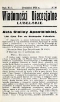 Wiadomości Diecezjalne Lubelskie. R. 13, nr 10 (1931)