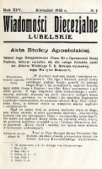 Wiadomości Diecezjalne Lubelskie. R. 14, nr 4 (1932)