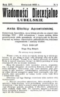 Wiadomości Diecezjalne Lubelskie. R. 15, nr 4 (1933)