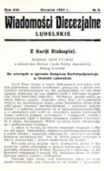 Wiadomości Diecezjalne Lubelskie. R. 16, nr 8 (1934)
