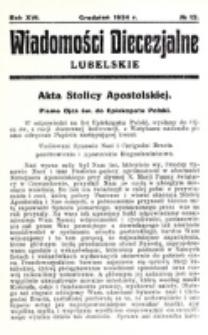 Wiadomości Diecezjalne Lubelskie. R. 16, nr 12 (1934)