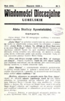 Wiadomości Diecezjalne Lubelskie. R. 17, nr 1 (1935)
