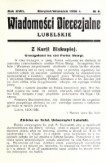 Wiadomości Diecezjalne Lubelskie. R. 18, nr 8 (1936)