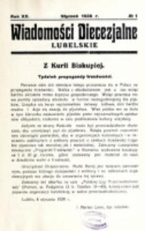 Wiadomości Diecezjalne Lubelskie. R. 20, nr 1 (1938)