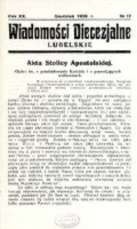 Wiadomości Diecezjalne Lubelskie. R. 20, nr 12 (1938)