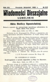 Wiadomości Diecezjalne Lubelskie. R. 20, nr 8/9 (1938)