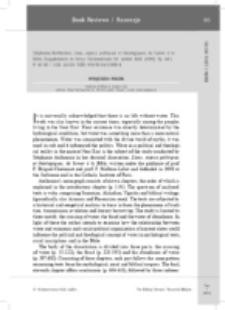 Recenzja : Stéphanie Anthonioz, L'eau, enjeux politiques et théologiques, de Sumer à la Bible (Supplements to Vetus Testamentum 131; Leiden: Brill, 2009). ISBN 978-90-04-17898-4