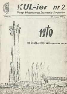 KUL-ier : Zeszyt Niezależnego Zrzeszenia Studentów. nr 2 (31 Stycznai 1981)