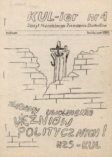 KUL-ier : Zeszyt Niezależnego Zrzeszenia Studentów. Nr 4 (Kwiecień 1981)