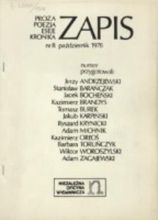 Zapis : poezja, proza, eseje, felietony. Nr 8 (Październik 1978)