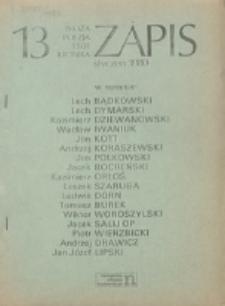 Zapis : poezja, proza, eseje, felietony. Nr 13 (Styczeń 1980)