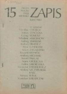 Zapis : poezja, proza, eseje, felietony. Nr 15 (Lipiec 1980)