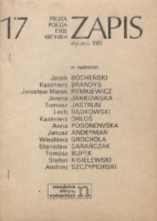Zapis : poezja, proza, eseje, felietony. Nr 17 (Styczeń 1981)