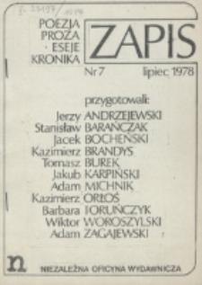 Zapis : poezja, proza, eseje, felietony. Nr 7 (Lipiec 1978)