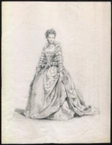 [Portret damy w XVII-wiecznej sukni: projekt graficzny]