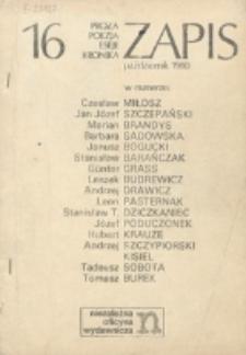 Zapis : poezja, proza, eseje, felietony. Nr 16 (Październik 1980)
