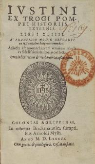 Ivstini Ex Trogi Pompeii Historiis Externis Libri XLIIII. : A Francisco Modio Brvgenso ex M. S. codocibus deligenter emendati [...].