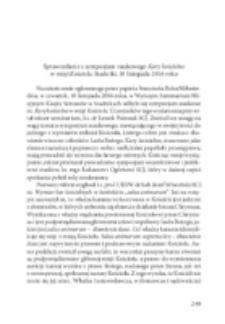 Sprawozdanie z konferencji naukowej Kary kościelne w misji Kościoła, Stadniki, 10 listopada 2016 r.