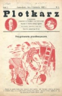 Plotkarz : tygodnik humorystyczno-satyryczny. R. 1, nr 1 (9 Kwietnia 1922)