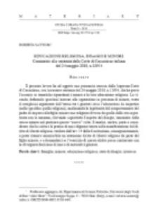 Educazione religiosa, disagio e minori. Commento alla sentenza della Corte di Cassazione italiana del 24 maggio 2018, n.12954