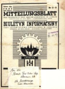 Mitteilungsblatt der Industrie und Handelskammer in Lublin = Biuletyn Informacyjny Izby Przemysłowo-Handlowej w Lublinie. 1941, nr 2/3