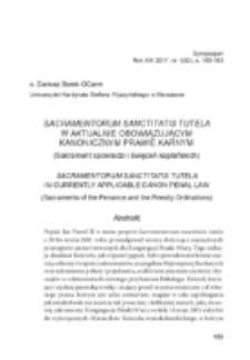Sacramentorum sanctitatis tutela w aktualnie obowiązującym kanonicznym prawie karnym (Sakrament spowiedzi i święceń kapłańskich).