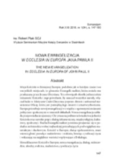 Nowa ewangelizacja w Ecclesia in Europa Jana Pawła II.