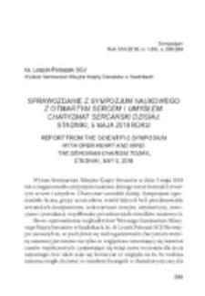 Sprawozdanie z sympozjum naukowego Z otwartym sercem i umysłem. Charyzmat sercański dzisiaj, Stadniki, 5 maja 2018 roku .