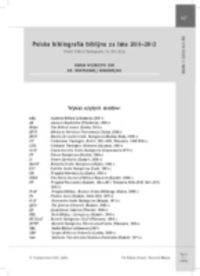 Polska bibliografia biblijna za lata 2011–2012 (Polish Biblical Bibliography for 2011–2012).