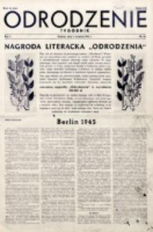 Odrodzenie : tygodnik. R. 2, nr 40 (2 września 1945)