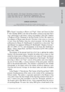 Recenzja : Karl Olav Sandnes, The Gospel 'According to Homer and Virgil': Cento and Canon (Novum Testamentum Supplements 138; Leiden: Brill, 2011). Pp. xii + 280. € 106. ISBN 978-90-041-871-84.