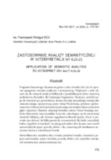 Zastosowanie analizy semantycznej w interpretacji Mt 6,22-23.